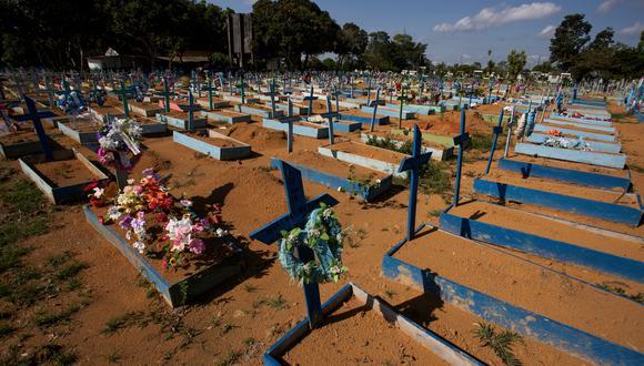 El número promedio de muertes diarias en la última semana  bajó este lunes a los 1.107 óbitos. (Foto:  Michael Dantas / AFP)