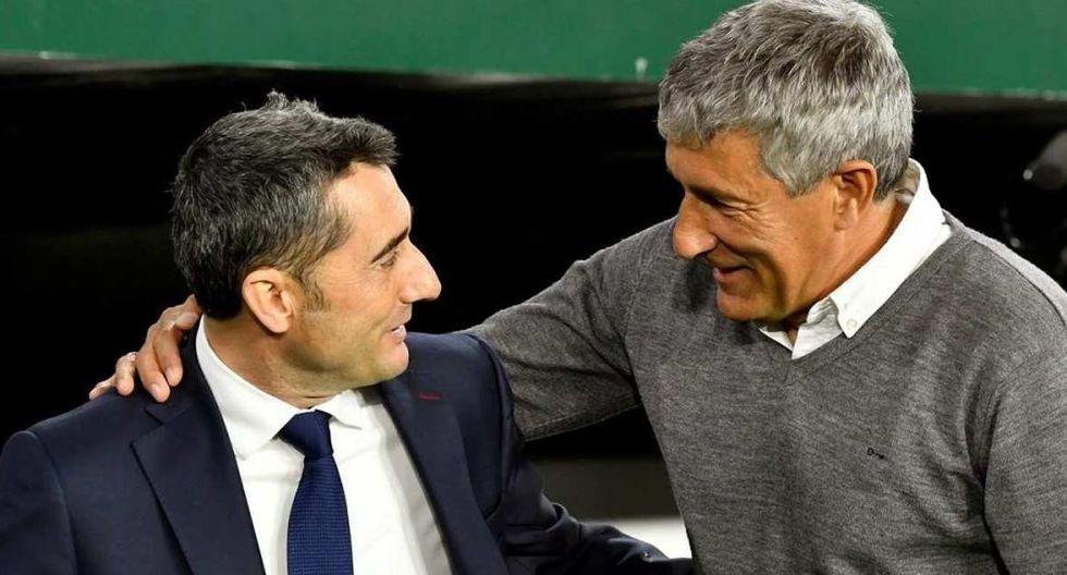 Ernesto Valverde se fue del Barcelona y saludó a Quique Setién, el nuevo entrenador. (Foto: EFE)