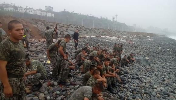Ministerio de Defensa difundió imágenes de los entrenamientos en playa Marbella. (MINDEF)