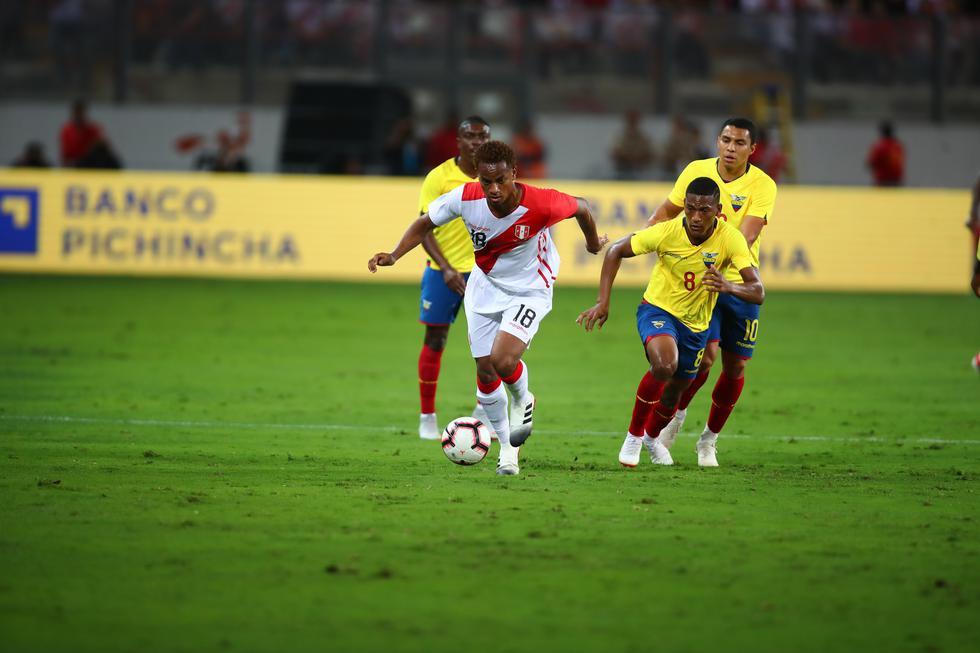 Amistoso Perú vs. Ecuador: André Carrillo fue uno de los más encaradores de la selección peruana.