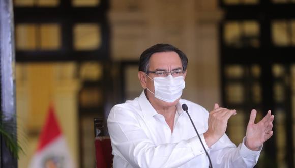 Presidente Martín Vizcarra se presentó con mascarilla en la conferencia que realizó esta tarde. (Foto: Presidencia de la República)