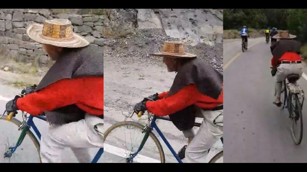 """Don Jacinto, """"El Legendario"""", desde Colombia, da cátedra sobre dos ruedas. Su video en Facebook se hizo viral por la emotividad que transmite. (Foto: captura)"""