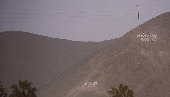 El nombre Máximo Fidel ya fue retirado de lo alto de un cerro en Ate. (Renzo Salazar/Perú21)