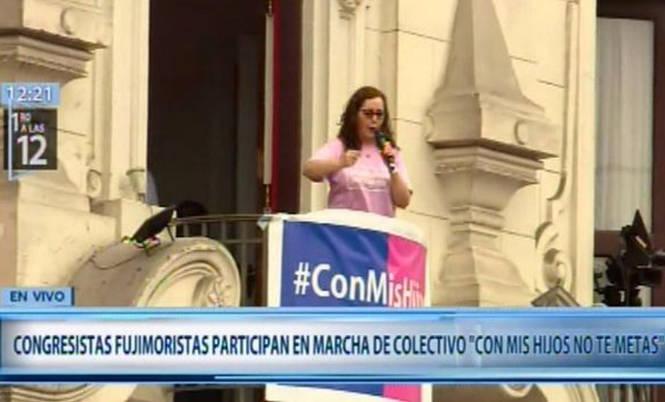 Congresista Rosa Bartra pidió a los manifestantes defender a la familia. (Foto: Canal N)
