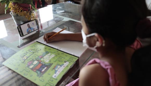 La asistencia de niñas y niños a clases a distancia de este nivel educativo aumentó en 2,9 y 3,5 puntos porcentuales, señala la encuesta del INEI. Foto: Archivo GEC