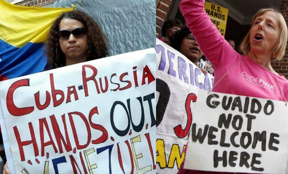 Nellie Romero, una venezolana opositora, y Medea Benjamin, una militante de izquierda, cuentan qué las mueve a movilizarse bajo sol y lluvia por la embajada de Venezuela en Estados Unidos. (AFP)