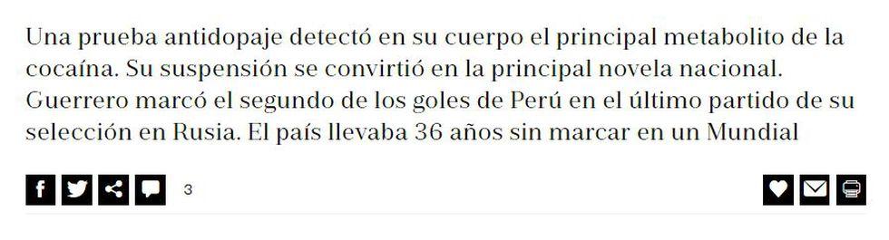 Actual bajada del texto de Galarza. (Captura El País)
