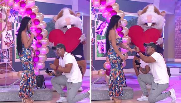 La pareja de Paola Ruiz, Ángel Eduardo Véliz, le propuso matrimonio tras casi una década de relación. (Foto: Captura América TV).