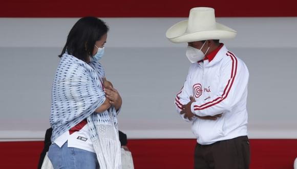 Pedro Castillo y Keiko Fujimori participaron en un debate en Chota, Cajamarca, el 1 de mayo. (Foto: Hugo Pérez / @photo.gec)