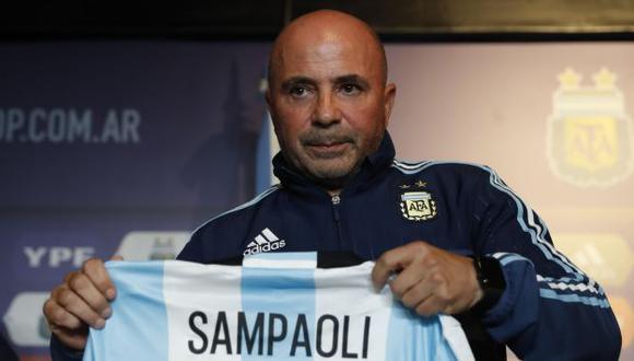 Jorge Sampaoli habló sobre Lionel Messi en su presentación oficial como nuevo seleccionador argentino. (EFE)