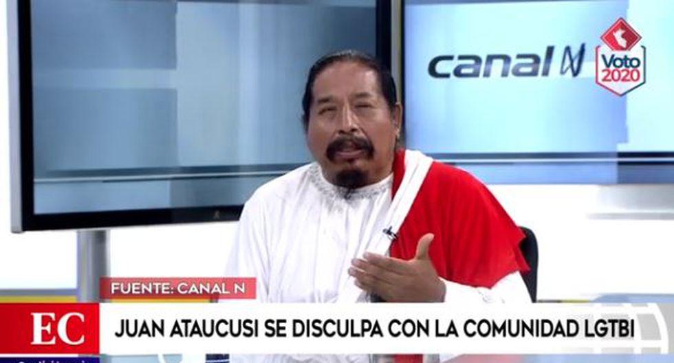 Juan Ataucusi ofreció disculpas a la comunidad LGTBI por declaraciones de Wilmer Cayllahua. (Captura/Video Canal N)
