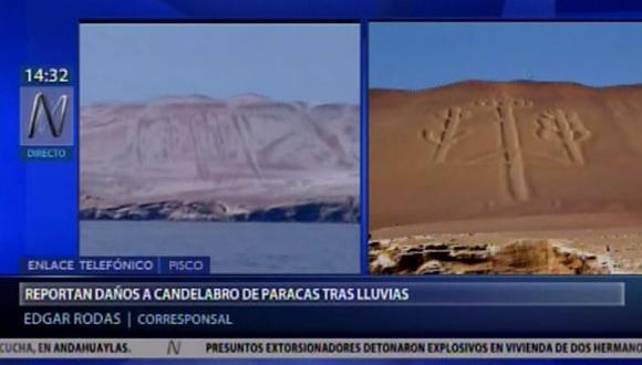 Las lluvias registradas en las zonas originaron que las sales del cerro se levanten y se acumulen a los costados de la figura.(Video: Canal N)