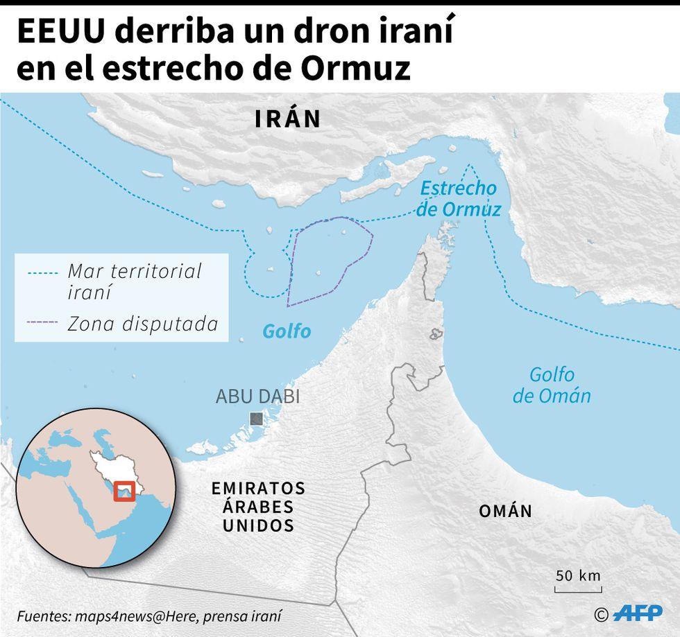 Estados Unidos derriba un dron de Irán en el estrecho de Ormuz. (AFP)