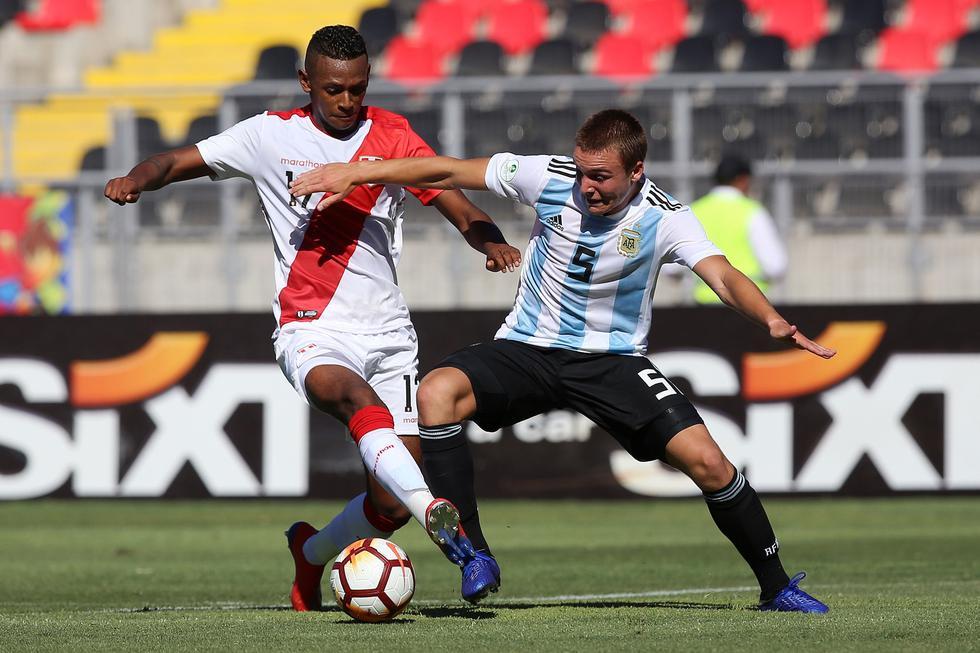 Perú vs. Argentina: se miden en Talca por el Sudamericano Sub 20. (Foto: AFP)