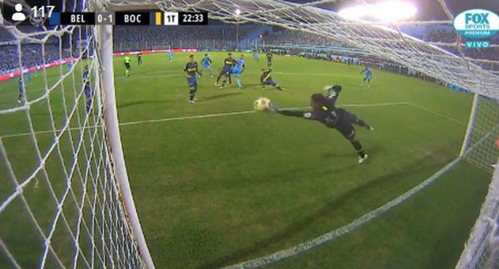 Andrada se lució con una notable atajada ante Belgrano. (Foto: Captura Fox Sports)
