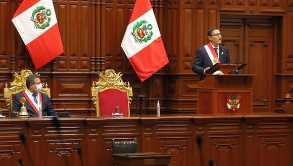 El presidente de la República, Martín Vizcarra, dio hoy su mensaje a la Nación por Fiestas Patrias. (Foto: GEC)