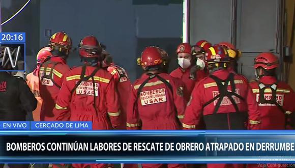 Los bomberos trabajan desde el lunes en la búsqueda del albañil José Martín Huerto Garrido. (Canal N)
