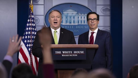 El secretario de Estado, Mike Pompeo, y el secretario del Tesoro, Steven Mnuchin, detallaron las sanciones impuestas por EE.UU. contra Irán. (Foto: AP)
