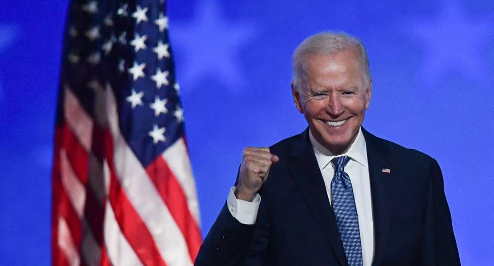El candidato demócrata y ex vicepresidente Joe Biden habla en su evento de la noche de elecciones en el Chase Center en Wilmington, Delaware, Estados Unidos, el 3 de noviembre de 2020. (AFP / ANGELA  WEISS).