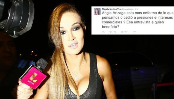 Magaly Medina utilizó su Twitter para criticar a Angie Arizaga. (Trome/Twitter)