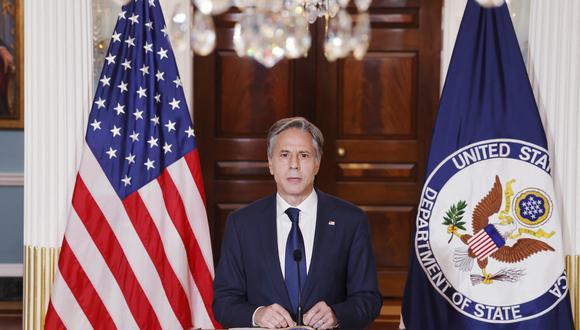 """""""Los talibanes buscan legitimidad y apoyo internacional. Nuestro mensaje es que cualquier legitimidad y apoyo debe ganarse"""", afirmó el secretario de Estado Antony Blinken. (Foto: JONATHAN ERNST / POOL / AFP)"""