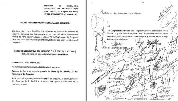 SACADA DE VUELTA. Todas las bancadas respaldaron con sus firmas controvertida propuesta para exonerarse del pago de tributos.