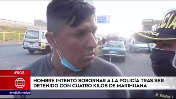 Sujeto trató de sobornar a policía tras ser detenido con cuatro kilos de marihuana