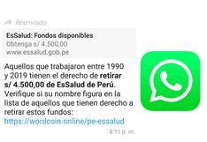WhatsApp: circula falso mensaje que indica que EsSalud te debe S/ 4,500