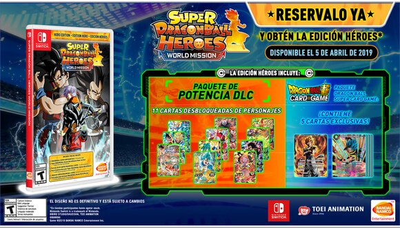 Super Dragon Ball Heroes World Mission estará disponible para Nintendo Switch y PC vía STEAM el 5 de abril de 2019. Salu2.