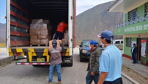 Antamina apoya a gobiernos locales entregando paquetes básicos de víveres para 20 mil familias.