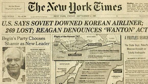 Portada de The New York Times dando cuenta del accidente. (Internet)