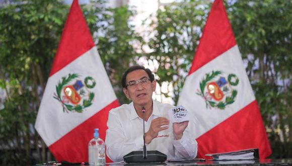 Martín Vizcarra emitió hoy un pronunciamiento desde Palacio de Gobierno (Presidencia)