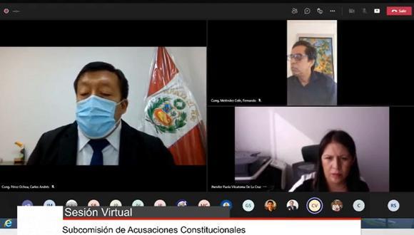 Yeni Vilcatoma estuvo presente en la sesión virtual por su denuncia contra Martín Vizcarra.