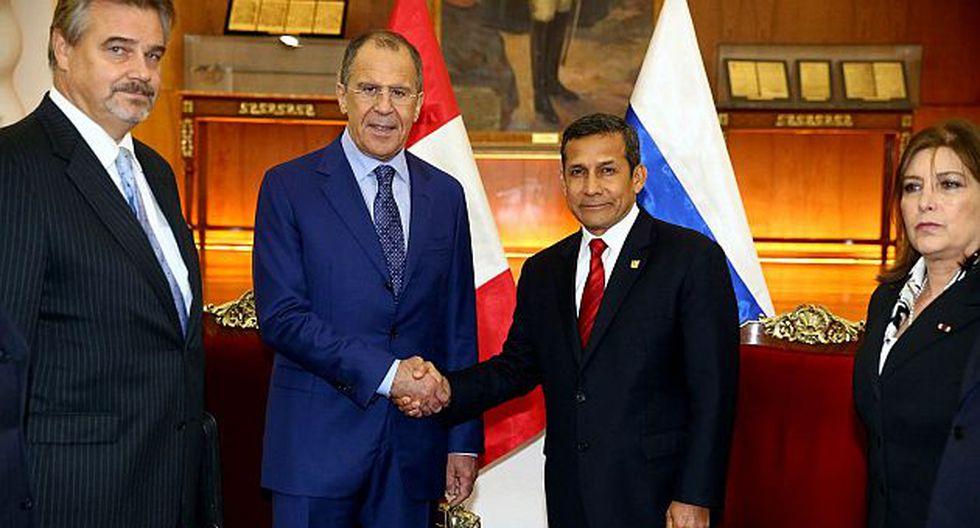 Serguéi Lavrov se reunió con el presidente Humala y la canciller Rivas. (Andina)