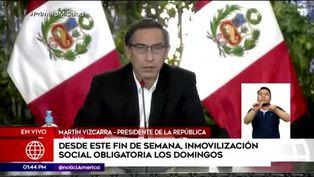 """Martín Vizcarra: """"Vamos a retomar la inmovilización obligatoria los domingos"""""""