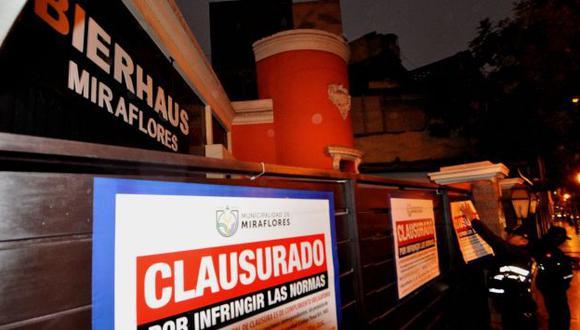 Municipio de Miraflores clausuró temporalmente esos locales. (Difusión)