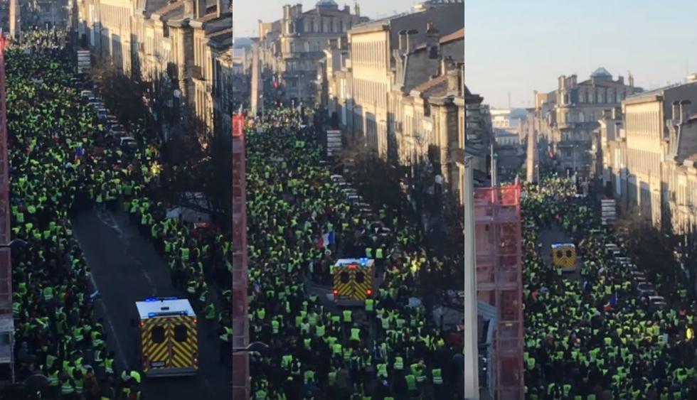 Protestantes franceses se volvieron viral en Facebook tras la publicación del clip. (Foto: Captura)