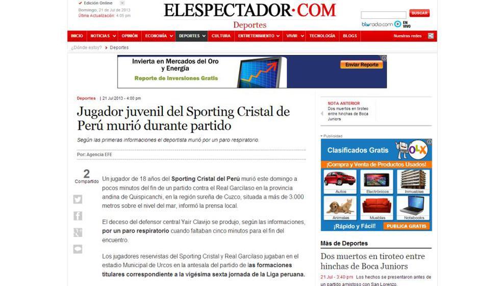 Página del diario El Espectador de Colombia destaca que Yair Clavijo haya muerto en las alturas del Cusco.