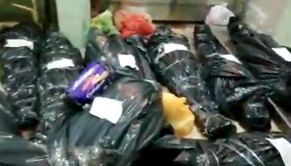 Video de la morgue del hospital Regional de Iquitos muestra a cadáveres amontonados de víctimas de coronavirus. (Foto: Captura de video)