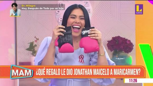 Jonathan Maicelo sorprende a Maricarmen Marín con guantes de box para su bebé