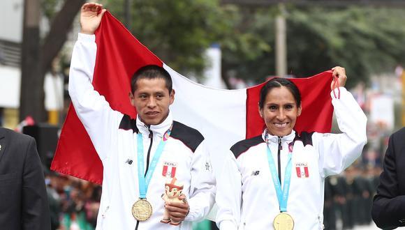 Gladys Tejeda y Christian Pacheco ganadores de medallas de oros para Perú en los Juegos Panamericanos Lima 2019 en la maraton de 42 kilometros