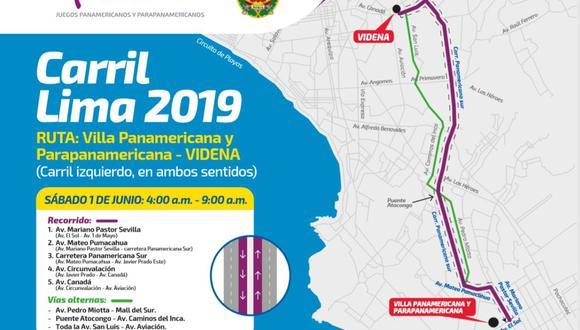 Este es el recorrido que tomarán las delegaciones participantes de Lima 2019 para llegar a la Videna. (Difusión)