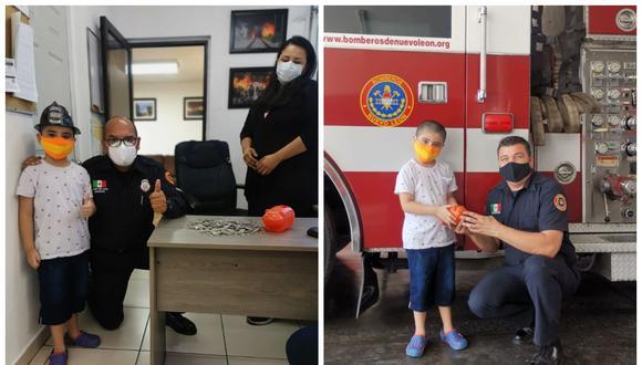 El pequeño Isidro Cristo rompió su alcancía e hizo una especial donación a los bomberos de Nuevo León. (Foto: Facebook)