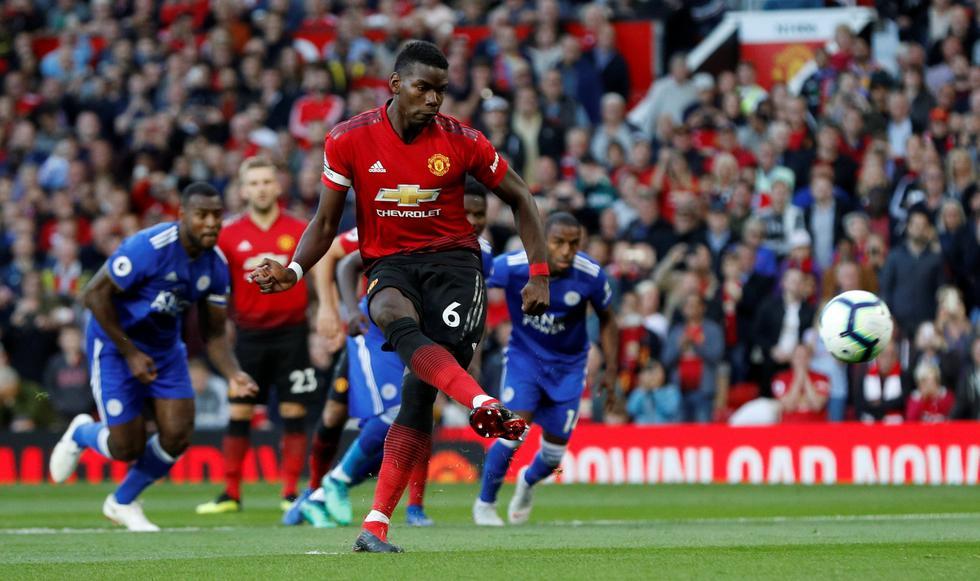 Paul Pogba anotó el primer gol de la Premier League para el Manchester United. (REUTERS)