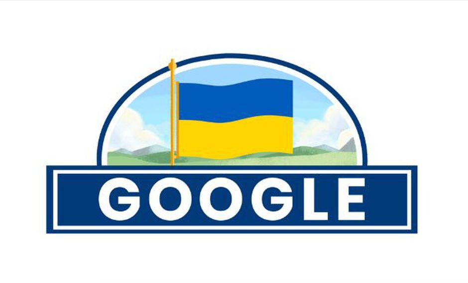 Los colores de Ucrania gobiernan el último doodle elaborado por Google. (Foto: Google)