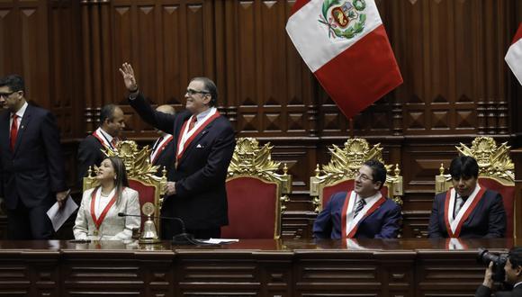 El flamante titular del Legislativo, Pedro Olaechea, preside la Junta de Portavoces. (Anthony Niño de Guzmán/GEC)