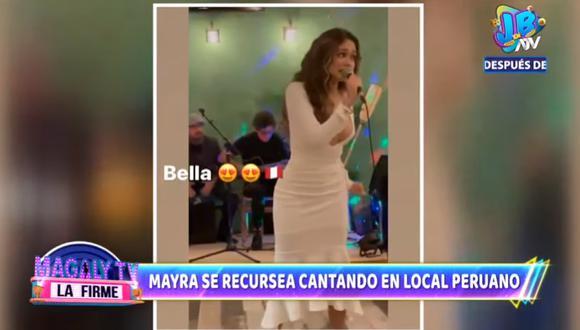 Mayra Goñi cantó en restaurante peruano en Estados Unidos. (Foto: Captura ATV)