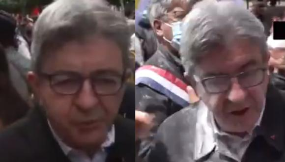 Legislador Jean-Luc Melenchon fue alcanzado por harina en el rostro y otras partes del cuerpo cuando declaraba a la prensa local. (Foto: captura de pantalla | Twitter)
