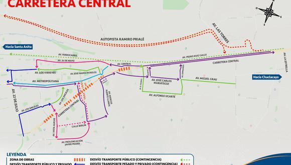 Plan de desvío por cierre de la carretera Central. (Foto: Municipalidad de Lima)