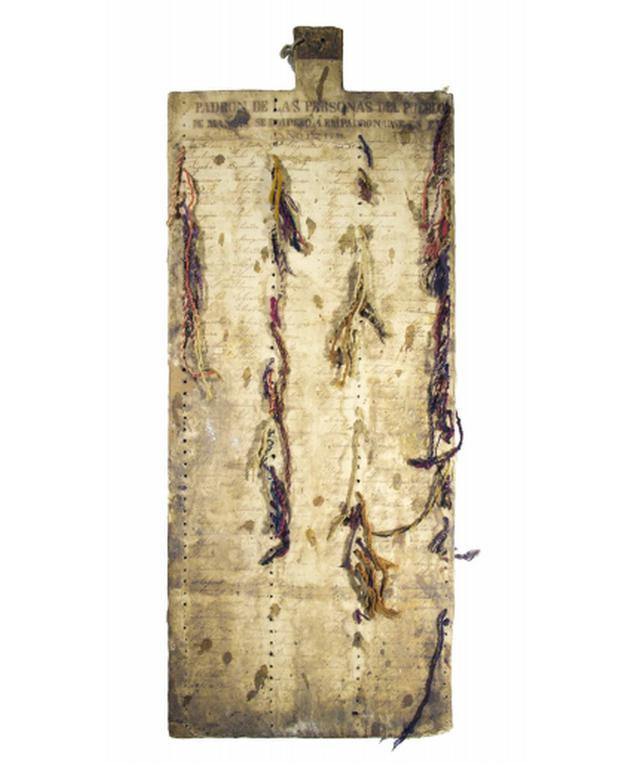 Imagen de la  tabla khipu en donde se encuentra el padrón de las personas del pueblo de Mangas. (Cortesía: Sabine Hyland)